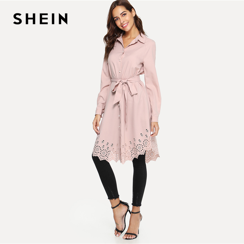 b20624ef5718d SHEIN Pink Elegant Office Lady Workwear Laser Cut Scallop Trim Self Belted  Stand Collar Shirt Dress Autumn Women Casual Dresses-in Dresses from  Women's ...