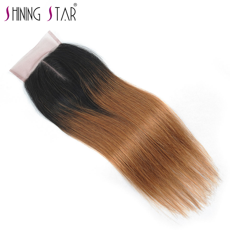 Blonde Ombre Middle Part Closure Brazilian Straight Human Hair Weave T1B 30 4*4 10-18 Inch Shining Star Non Remy Hair Extensions
