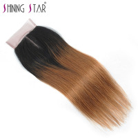 Blonde Ombre Middle Part Closure Brazilian Straight Human Hair Weave T1B 30 4*4 10 18 Inch Shining Star Non Remy Hair Extensions