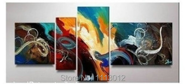 Hot New Peacock Flower Landscape Line Oil Painting On Canvas Abstract 4 Panel Sets Home Wall Arts Decor For Living Room Sale
