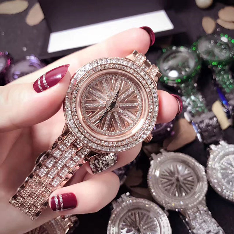 Full Crystal Luxury Casual Women Watches Lady Rotation Dress Watch Diamond Stone Wristwatch Ladies Watch horloges vrouwen 2018 new fashion bracelet watch quartz women lady dress wristwatch horloges vrouwen gift box free ship