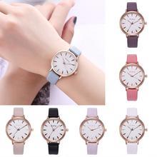 2018 Women Fashion Simple Fresh Round Faux Leather Band Analog Quartz Wrist Watches