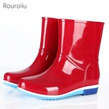 Rouroliu Women Waterproof Ankle/Mid-Calf Rainboots Non-Slip Winter Safety Rain Boots Warm Socks Water Shoes FR10