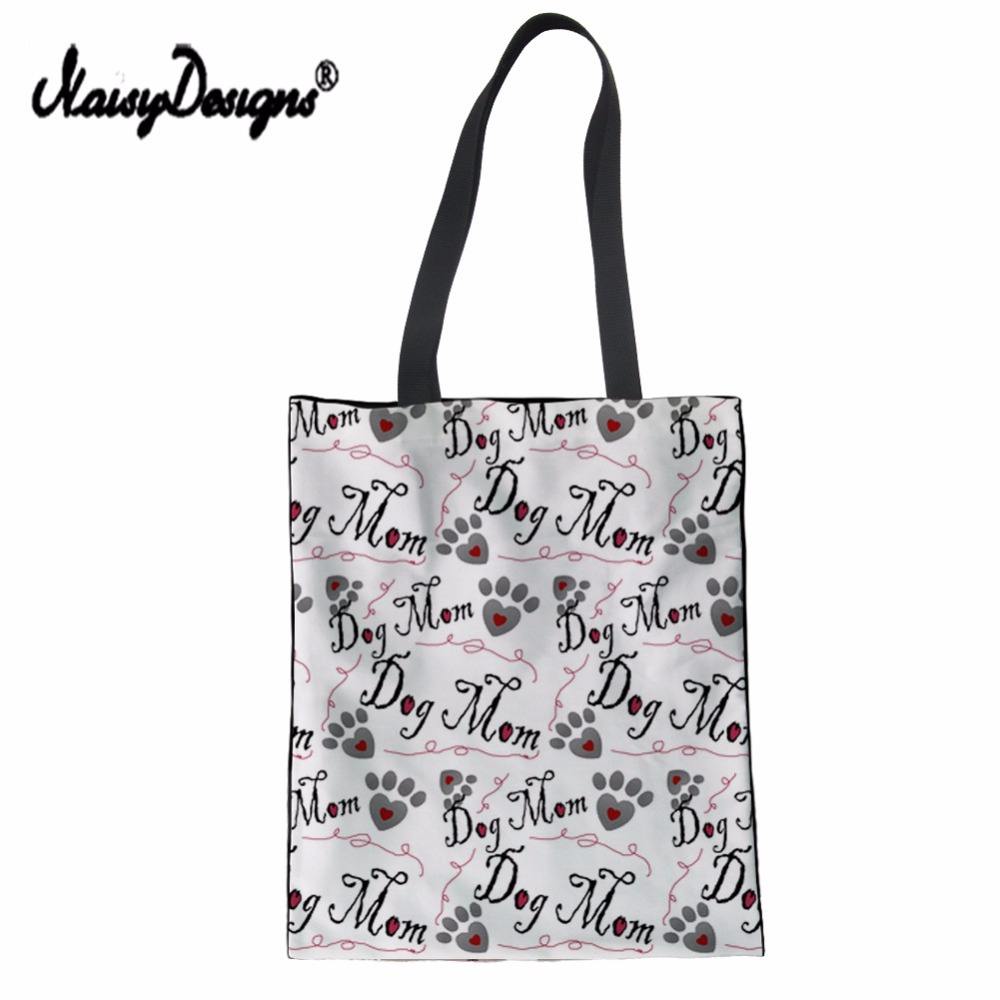 NoisyDesigns Brand Women Dog Bone Paw Print Tote Bag Reusable Sac Shopping Pliable Tissu School Lady Handbag Folding Grocery Bag ...