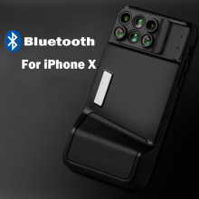 Bluetooth for New IPhone X Dual Camera Lens 6 in 1 Fisheye Wide Angle Macro Lens For iPhone X 10 Telescope Zoom Lenses +Case недорого