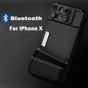 Image 2 - 블루투스 전화 케이스 키트 카메라 렌즈 아이폰 X 6 1 Fisheye 와이드 앵글 매크로 렌즈 아이폰 X 10 망원경 줌 렌즈