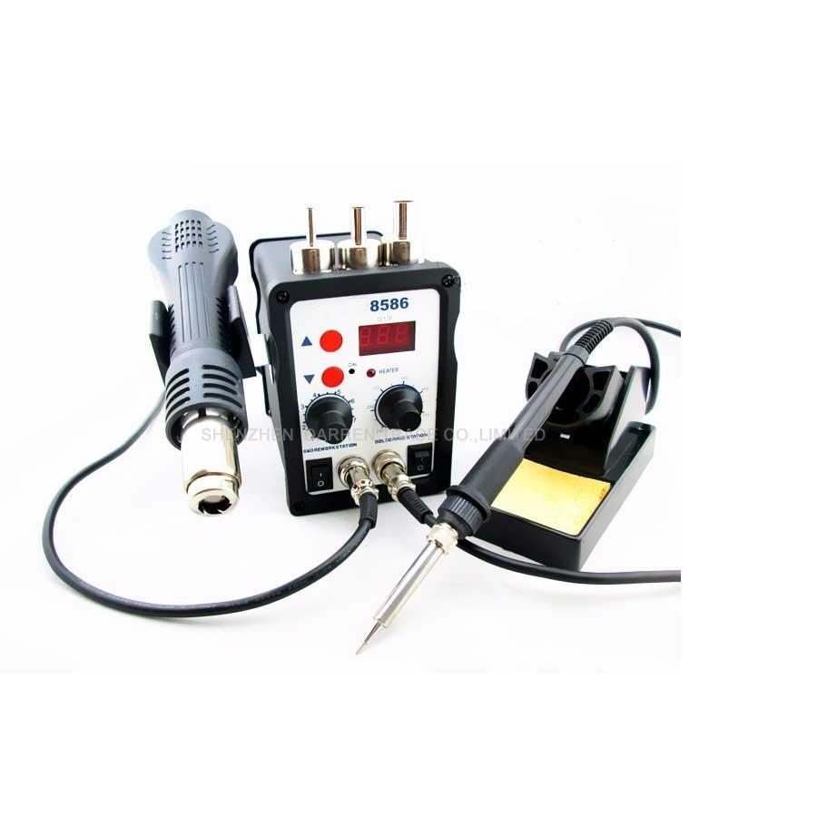 Hot Selling 220V 700w Soldering Station 8586 2 in 1 SMD Rework Station Hot Air Gun + Electric soldering iron Station все цены