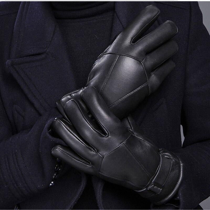 Gants chauds équitation d'hiver des hommes moto en cuir gants épais gants de laine hommes de froid coton gants
