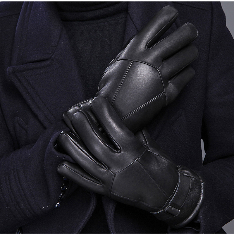 Gants chauds pour hommes gants d'hiver en cuir moto gants en laine épaisse gants en coton froid pour hommes