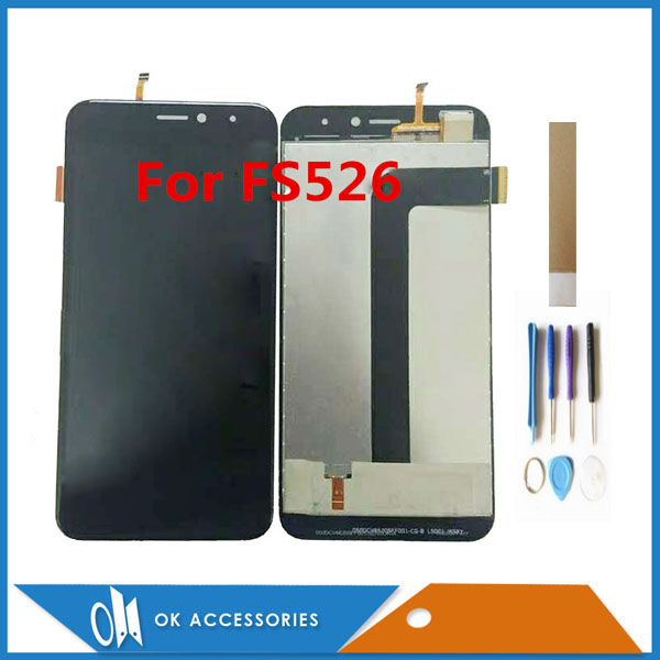 For Fly FS526 Power Plus 2 LCD Display With Touch Screen Digiziter Assembly High Quality Black Color With Tools Tape