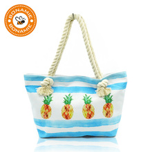 BONAMIE Fruit Printed Canvas Tote Bag Female Single Shopping Bags Large Capacity Women Beach Bags Casual Hemp Rope Tote Handbag
