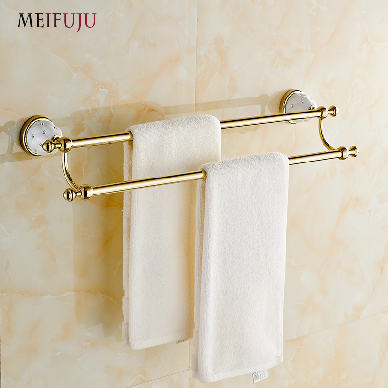 MEIFUJU New Double Towel Bar Towel Holder Solid Brass Towel rack Gold Finished Bath Products Bathroom Accessories Free Shipping free shipping 60cm double towel bar brief towel holder solid brass made gold finished bath products bathroom accessories
