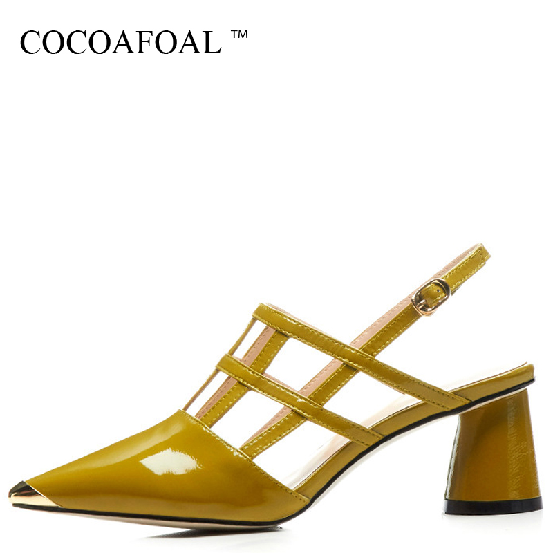 COCOAFOAL Women Genuine Leather Sandals Fashion Yellow Pink Heel Height Wedding Shoes Sexy Patent Leather Pointed Toe Sandals стоимость