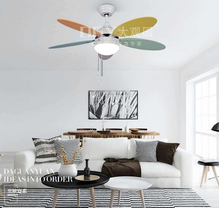 Ceiling Fans Lovely Colorful Country Wooden Leaf Iron Led Ceiling Fan With Remote Control For Bedroom Childrens Room Dining Room 2203 Ceiling Lights & Fans