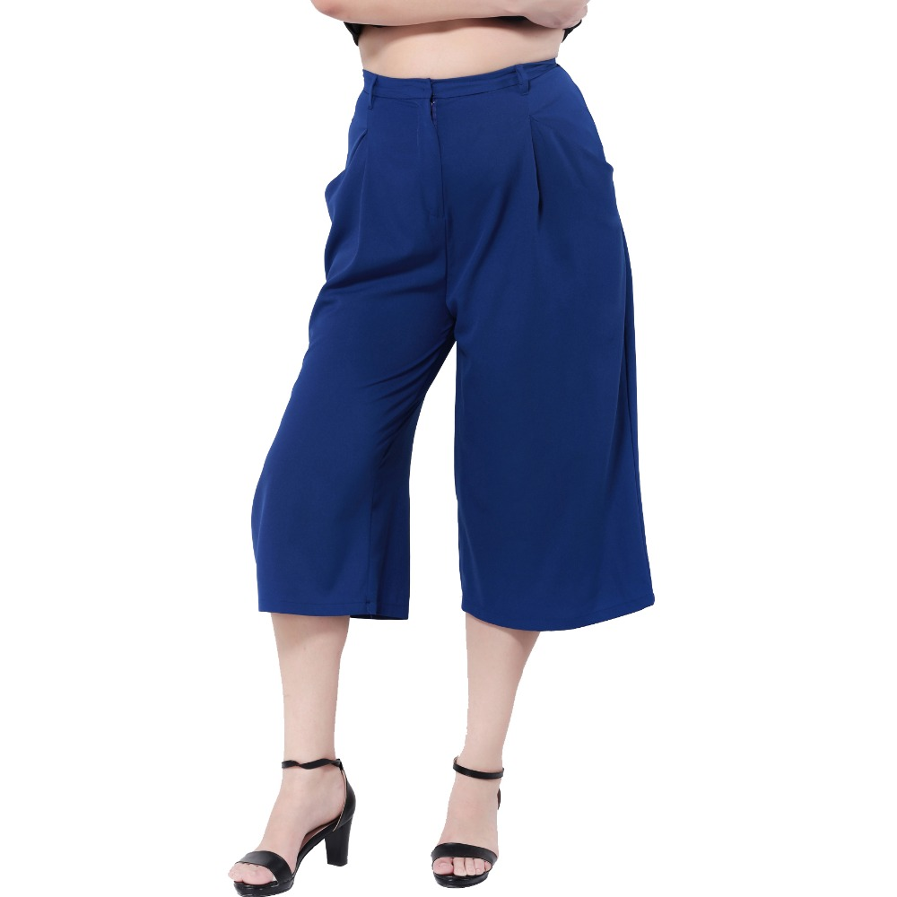 Plus Size Pocket Three Quarter Chiffon Wide Leg   Pants   Women Summer Bottoms Zipper Casual   Pants     Capri   Blue Trousers 5XL 6XL