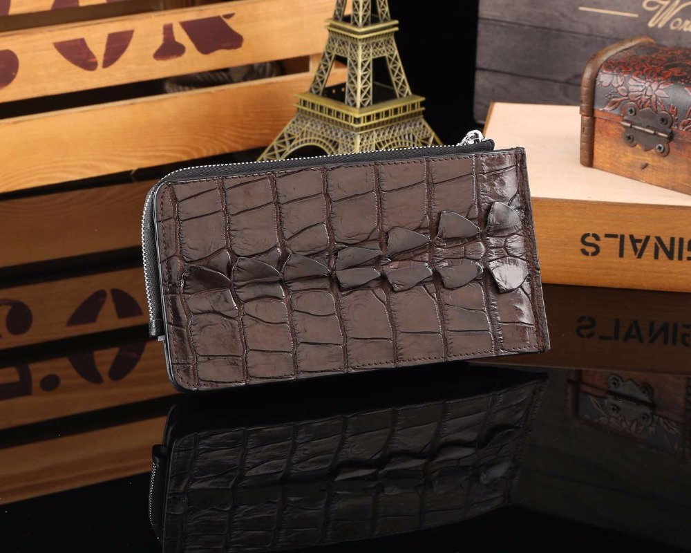100% Genuine Crocodile Skin back tail Leather bank card holder with lots od credit card slots zipper coin pocket 3 fold commercial bank credit to agriculture in india