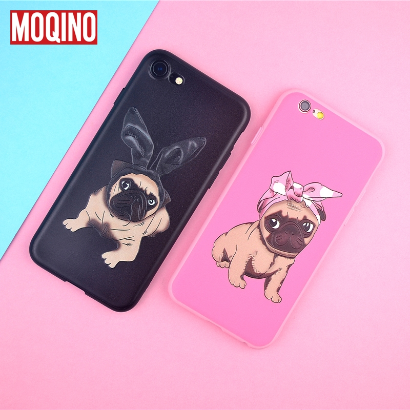 MOQINO Cute Dog Bulldog TPU Phone Cases For iPhone 6 6s PLus 7Plus 8Plus Case Silicone Relief Case For iphone 8 Case Back Cover