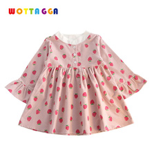 WOTTAGGA 2018 Round Collar Flare Sleeve Strawberry Printed Long Pure Cotton Cute Girls Clothing 3-7Y Old