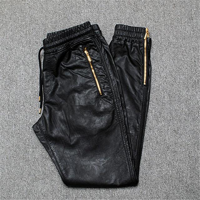Calças Dos Homens Corredores Calças Zíper Lateral de Couro Dos Homens quentes de Inverno 2016 Nova Moda Masculina Couro PU Calças Dos Homens Harem Pants