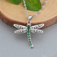 Luxury Brand Za Red Blue Green Crystal Dragonfly Pendant Necklace New 925 Sterling Silver Necklace Suspension