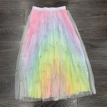 Hot fashion Rainbow stripe mesh Skirts New 2019 summer bling sequins A425