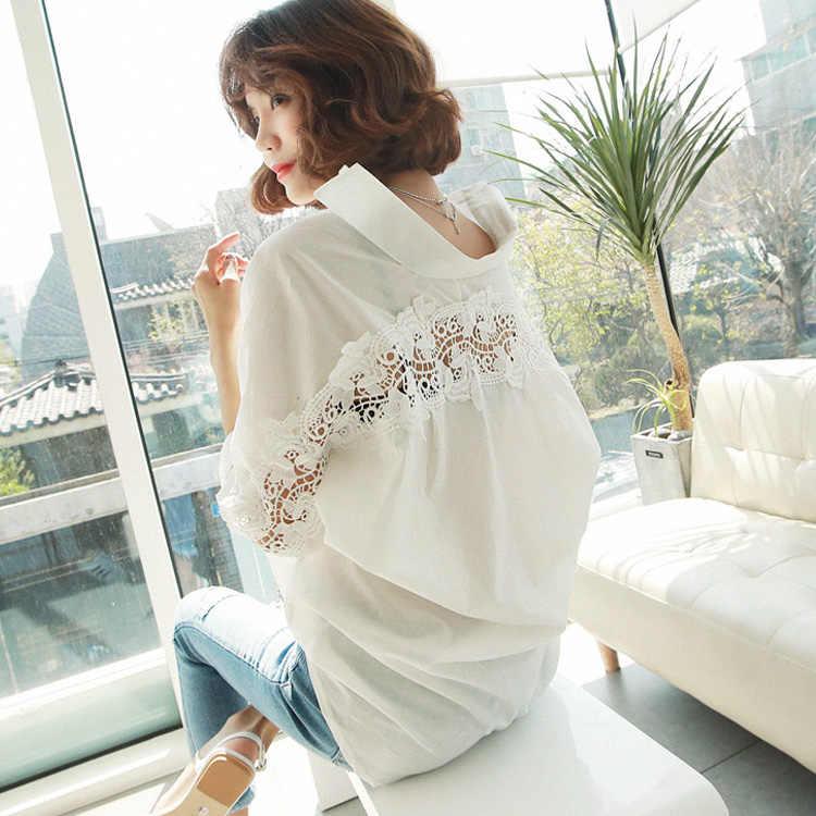Moda kadın üstleri yaz 2018 backless seksi oyma dantel bluz gömlek bayanlar casual gevşek beyaz ofis bluz kadınlar 1310 40