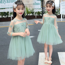 New arrived Girls dress embroidered Lace princess beautiful party 3/4sleeve O-Neck 3-10years