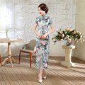 Hot Sale Traditional Chinese Women Long Dress Summer New Cotton Linen Qipao Sexy Slim Printed Cheongsam S M L XL XXL XXXL C0047