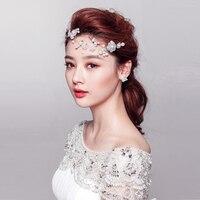 Koreański słodka panna młoda żonaty panna młoda panna młoda perły stroik stroik Nowy styl czysty i świeży kwiat stroik kwiat łańcuch miękkie