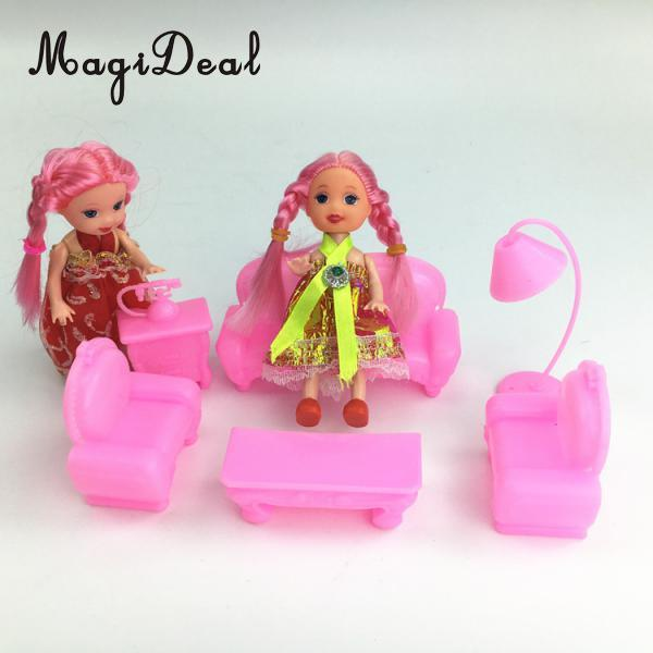 MagiDeal 6Pcs 1/12 Scale Dollhouse Furniture Set Sofa Chair Lamp Table for Kellydolls Bedroom House Toys Girls Kids Cute Gifts