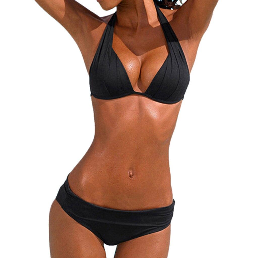 SAGACE Two Pieces Sexy Solid Bikini Padded Brazilian Halter Retro Beachwear 2019 Summer Push Up Mid Waist Swimsuit Swimwear