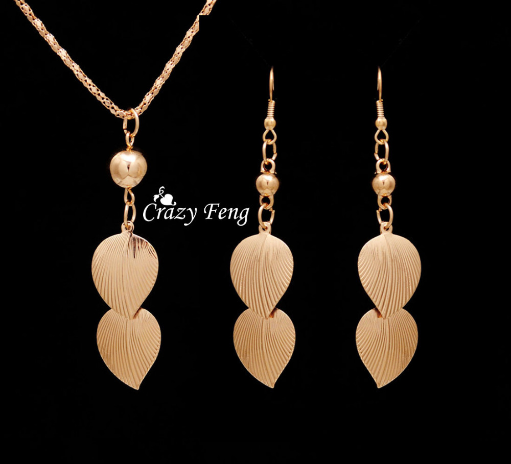 Gold Color Party Costume Jewelry Bijouterie Trendy Jewelry Sets Necklace  Earrings For Women With Leaf Dangle