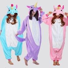 Новая зимняя Радуга Единорог Пижама для взрослых Для женщин Пижамные Комплекты мультфильм животных Хэллоуин пижамы с капюшоном Фланелевая Пижама