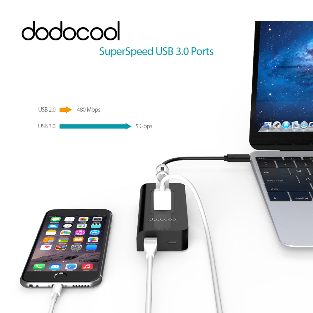 все цены на dodocool Type-C Hub USB-C to 3Port USB 3.0 Hub with Gigabit Ethernet Adapter Type C Power Delivery USB Hub for Apple New MacBook