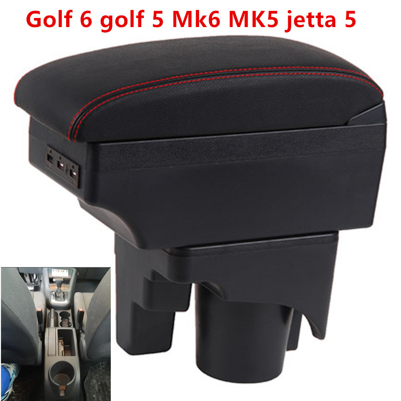 Para vw golf 6 golf 5 mk6 mk5 jetta 5 caixa apoio de braço usb