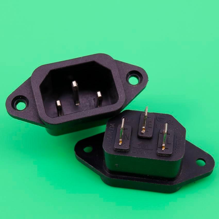 YuXi AC 250V 10A 3P IEC 320 C14 Plug Panel Mount Power Inlet Sockets Receptacle ac 250v 10a 3 terminals male iec 320 c14 inlet power plug w fuse holder