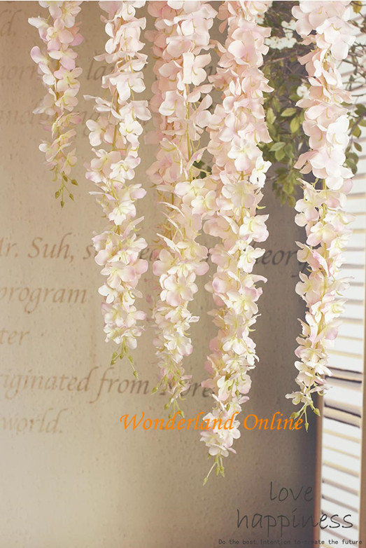 100PCS Artificial Hydrangea Wisteria Flower For DIY Simulation Wedding Arch Square Rattan Wall Hanging Basket Can Be Extension