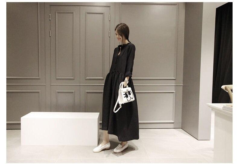 Frauen Neue Herbstkleider Baumwolle Leinen Langarm Vintage Kleid - Damenbekleidung - Foto 5