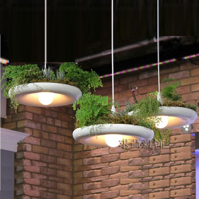 LukLoy Babylon Potted Plant Pendant Light Lamp Shade Modern Light Flower Pots for Growing Herbs or Succulents Balcony Lamp