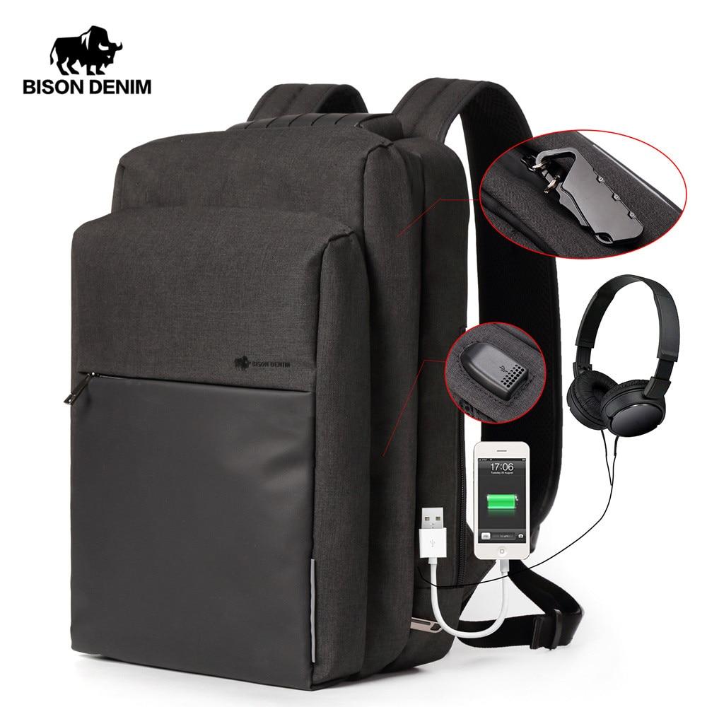 BISON DENIM USB Lade Männer Rucksack Freizeit Reise rucksack 15,6 zoll Schule Taschen Teenager Große Kapazität Männlichen Mochila N2681-in Rucksäcke aus Gepäck & Taschen bei  Gruppe 1