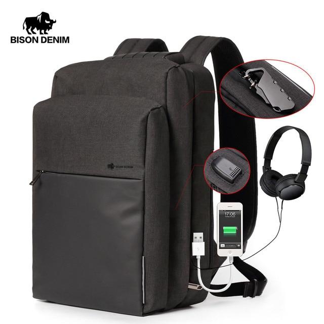 BISON деним usb зарядка Мужской рюкзак для отдыха, путешествия рюкзак 15,6 дюймов школьные рюкзаки для подростков большой емкости мужской Mochila N2681