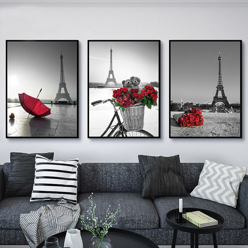 Nordic Simple Poster Prints Red Rose Paris Tower Umbrella Pictures Wall Canvas Painting Abstract Photo Pop Art Home No Framed