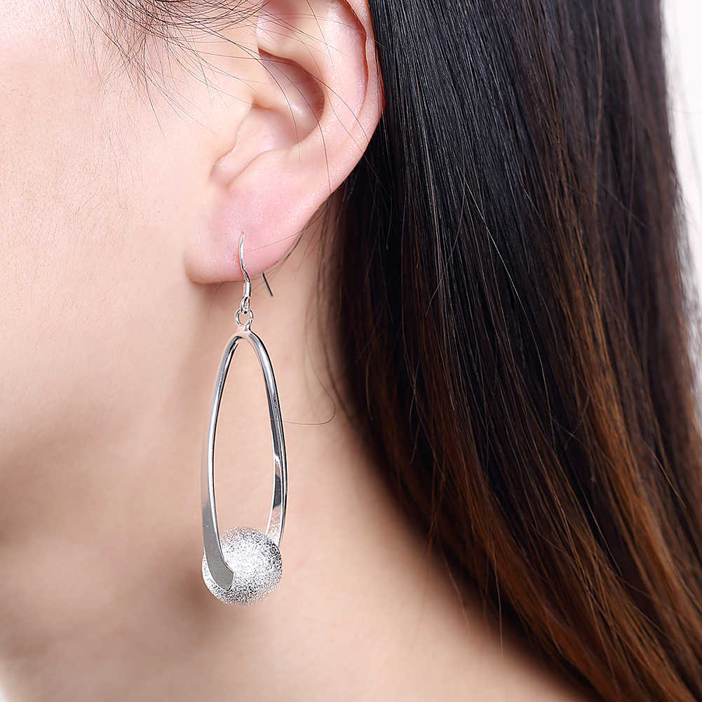 Promotion!!Wholesale Price Silver Color Earrings For Women Fashion Wedding Jewelry Two Line Clip Sand Ball Long Drop Earring