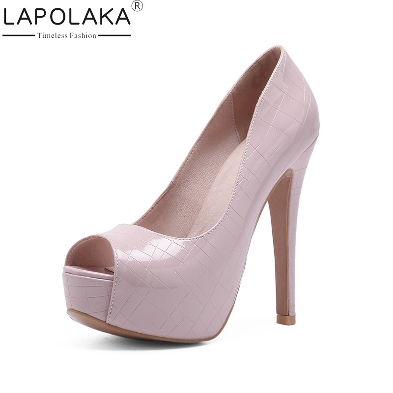LAPOLAKA 2018 Large Size 33-44 Office Lady Super Thin High Heels Pumps Shoes Women Platform Slip On Black Party Wedding Pumps lapolaka 2018 high quality large size 33 48 slip on thin high heels peep toe shoes woman platform party wedding pump