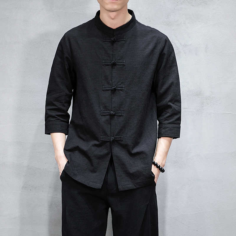 Camisa informal de algodón de lino de 2019men mezcla de cuello alto transpirable cómodo tradicional chino tres cuartos camisa M-5XL
