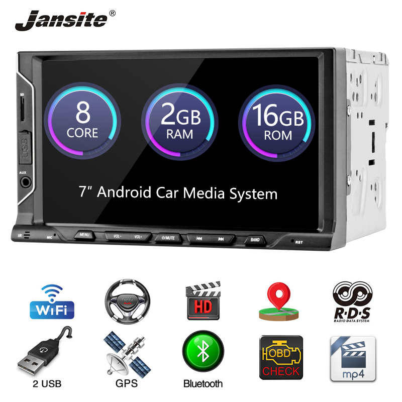 "Jansite 7"" 2 din car radio  player car audio 8 Core Chip Offline map U Disk mobile phone link RAM 2G AUX Reverse image FM Camera"
