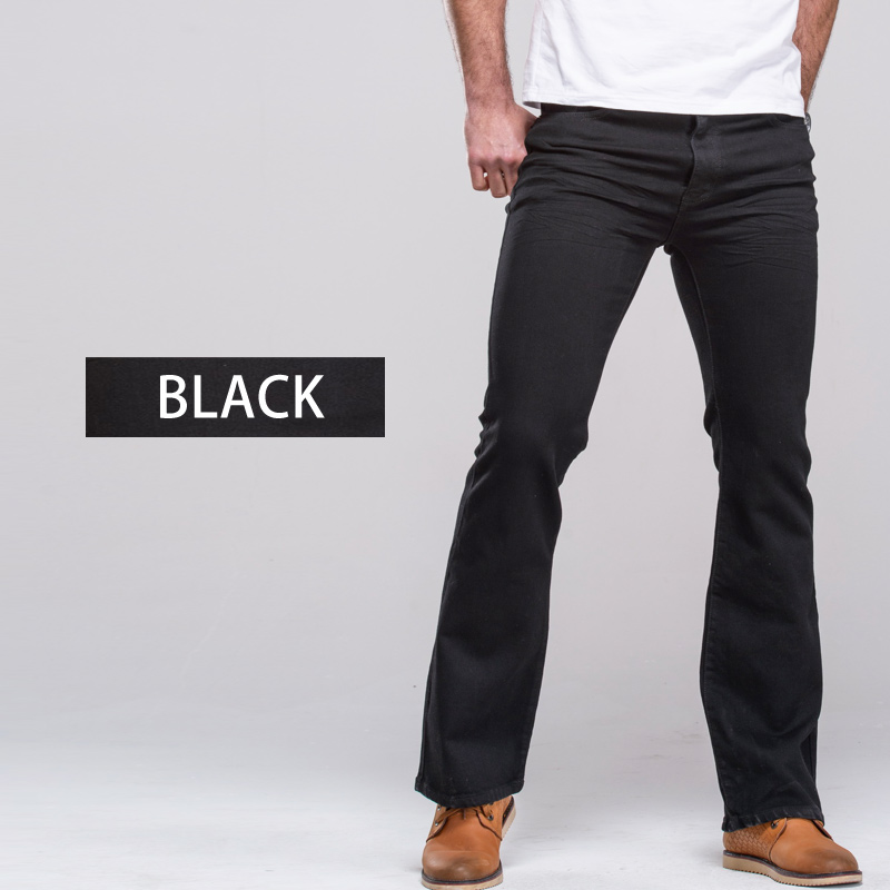 Image 5 - Mens Boot Cut Jeans Slightly Flared Slim Fit Famous Brand Blue Black jeans Designer Classic Male Stretch Denim jeans-in Jeans from Men's Clothing