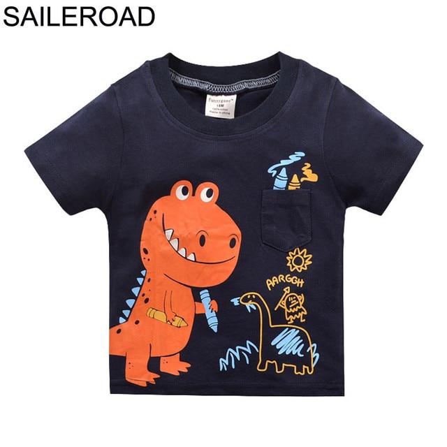 519647fb2a SAILEROAD Cartoon Dinosaur Shirts Summer Clothes Children Kids Boys Girls T- Shirt Cotton Baby Boy Girl's Tops Tees Shorts Shirts