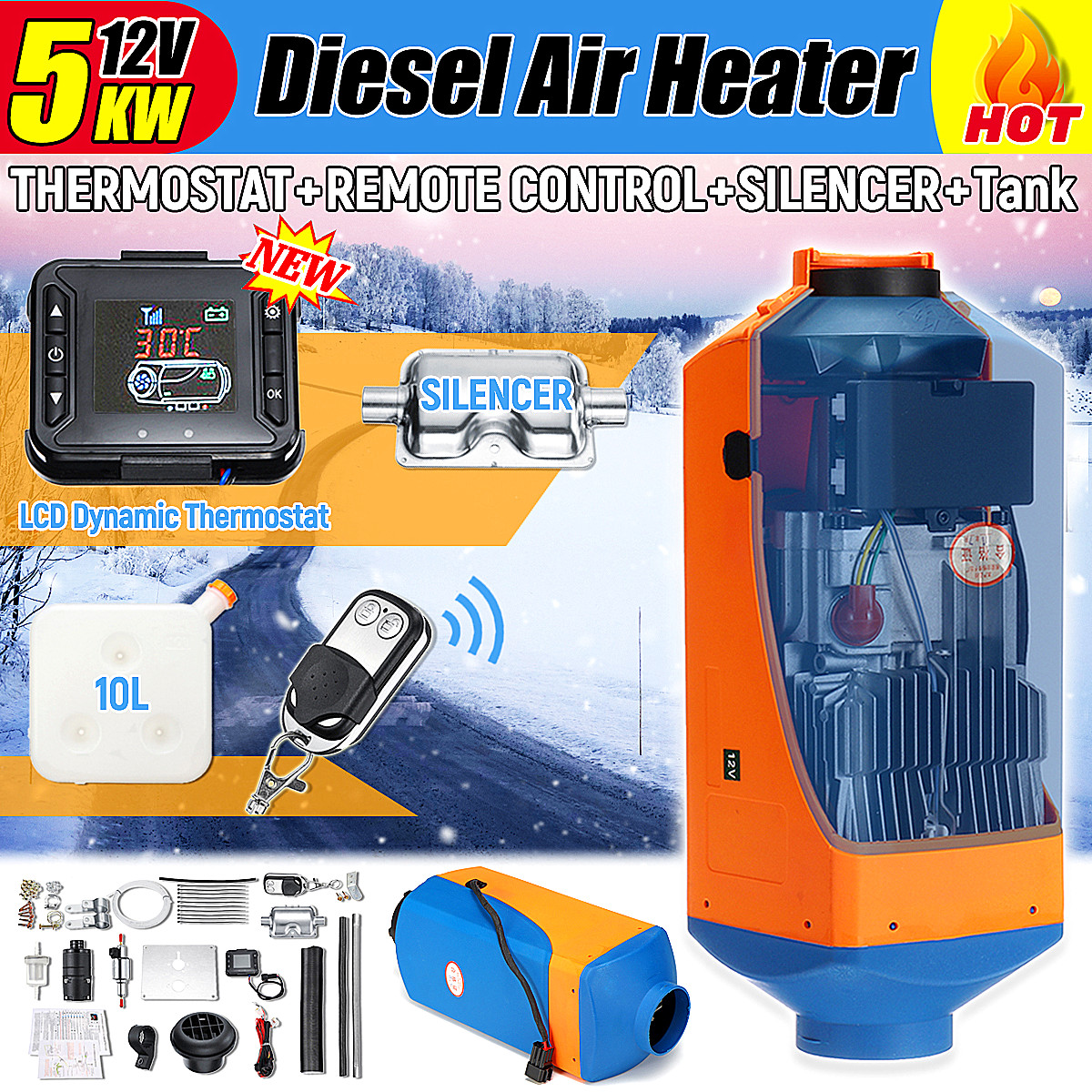 5kw 12v car heater air diesels heater parking heater with remote