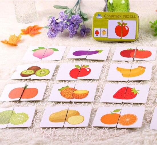 Новое поступление детские игрушки рано утром голова старт обучение головоломка когнитивные карточки Vehicl/фрукты/Животные/Жизнь набор пара головоломка детский подарок